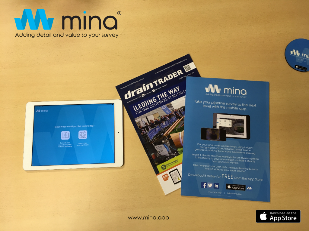 The mina Survey drainage app advertised on the back of the October Drain Trader magazine
