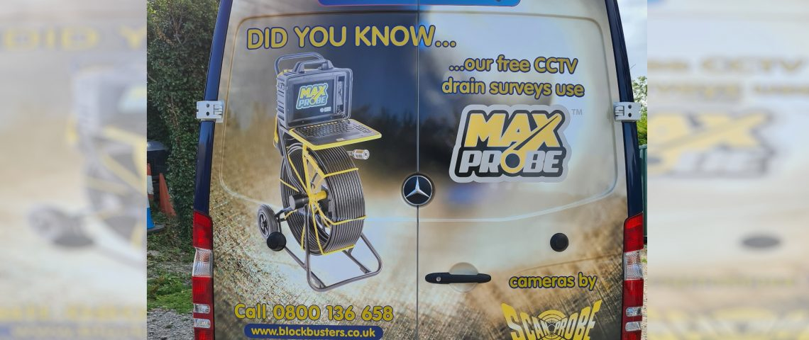 The Maxprobe features on the back of a BlockBusters van